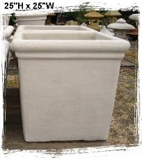 Large Square Planters, Roll Rim